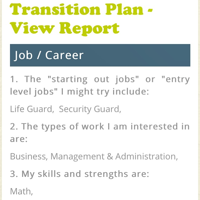 Transition plan view report